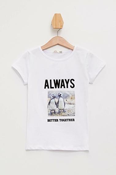 DeFacto Baskılı Relax Fit T-shirt Beyaz
